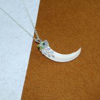 Colmillo de jabalí montado en plata de ley Quela joyas