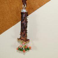 Colgante cuerno de corzo, en plata de ley 925 y ágatas