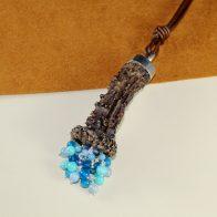 Collar cuerno de corzo en plata de ley 925 y ágatas azules