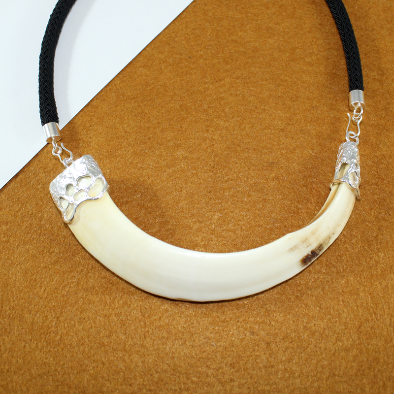 Collar colmillo de jabalí con plata de ley 925 casquilla rústica