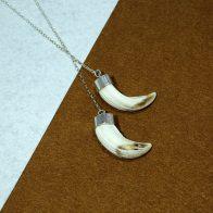 Collar largo con amoladeras de jabalí joyas de caza