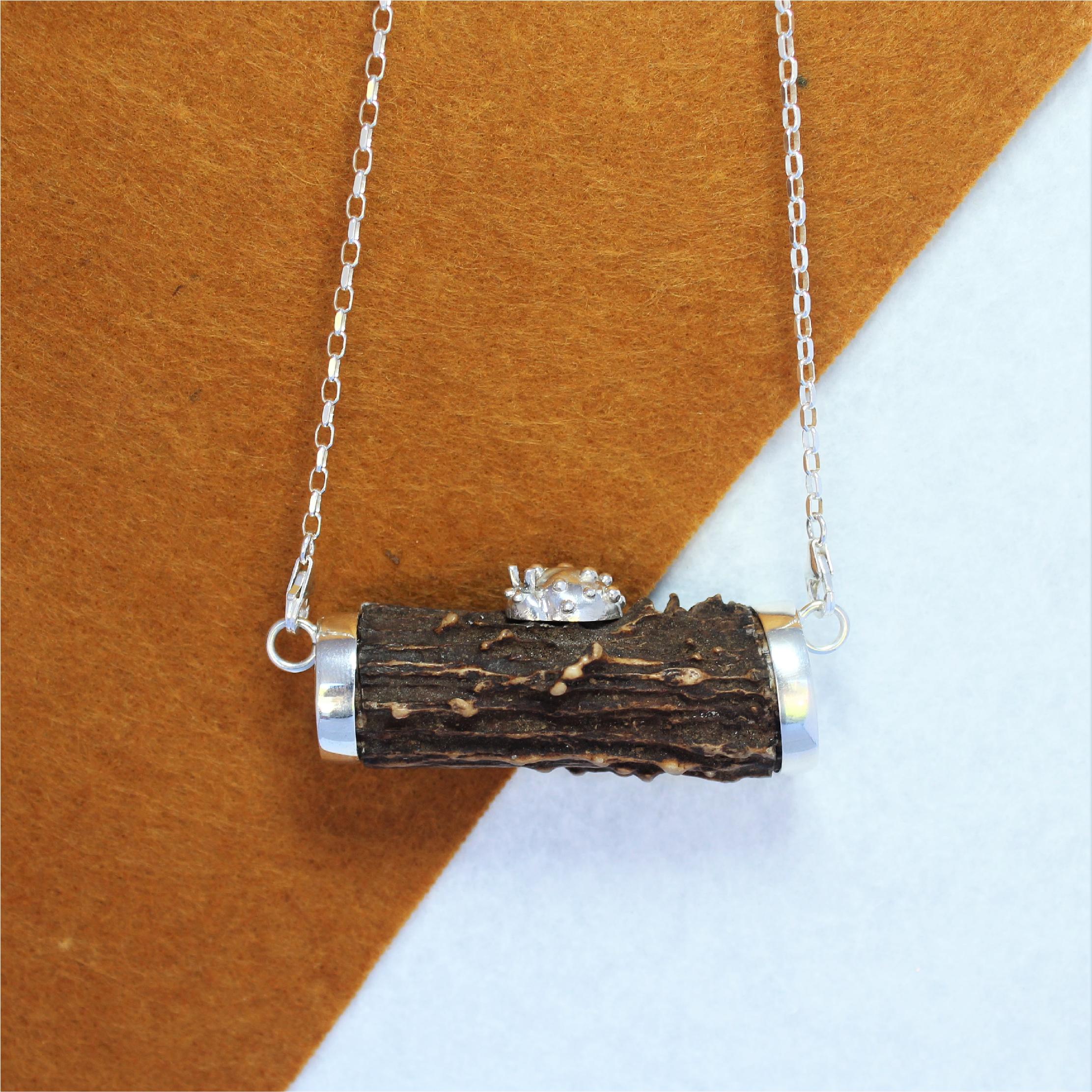 Colgante único con cuerno y plata de ley 925 joyas cinegéticas