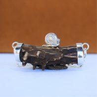 Collar con cuerno y original caracol en plata 925, joya cinegética exclusiva de Quela